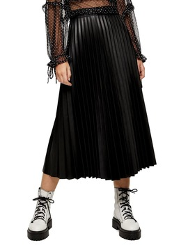 Pleated Faux Leather Midi Skirt by Topshop