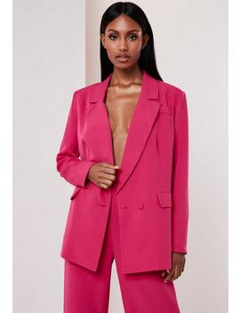 Fuchsia Co Ord Wrap Front Oversized Blazer by Missguided