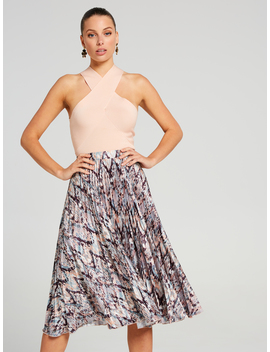 Abstract Texture Pleated Skirt by Portmans