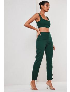 Green Co Ord Button Hem Cigarette Trousers by Missguided