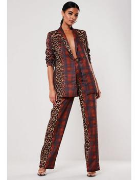 Red Co Ord Leopard Tartan Print Cigarette Trousers by Missguided