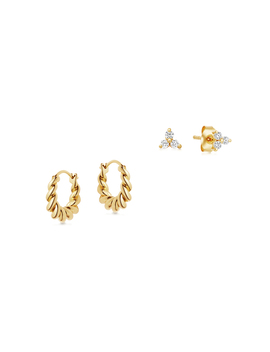 Gold Twist And Sparkle Earring Set by Missoma