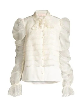 Layered Silk Organza Gathered Sleeve Blouse by Tory Burch