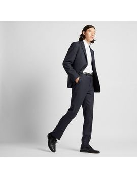 Men Stretch Wool Slim Fit Pants (Stripe) by Uniqlo