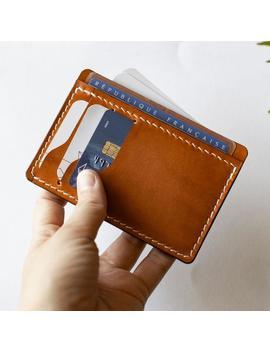 Porte Carte En Cuir, Couleur Miel, Portefeuille Minimaliste, Portefeuille Slim by Etsy