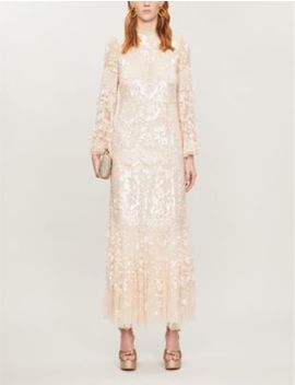Snowdrop Sequin Embellished Tulle Maxi Dress by Needle And Thread