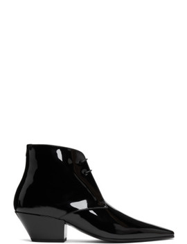 Black Patent Belle Laced Boots by Saint Laurent