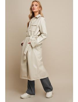 Patent Long Jacket Beige by Linnahlborgxnakd