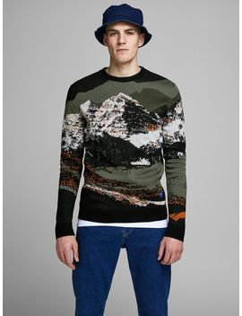 Pixelert Trykk Strikket Pullover by Jack & Jones