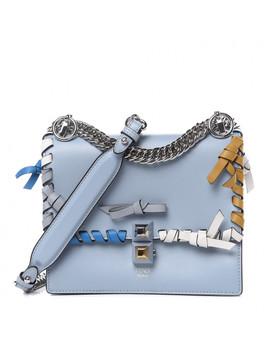 Fendi Calfskin Bow Small Kan I Shoulder Bag Polvere by Fendi