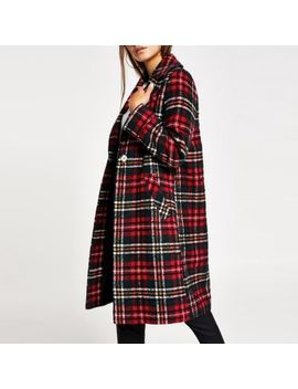 Petite Red Check Longline Coat by River Island