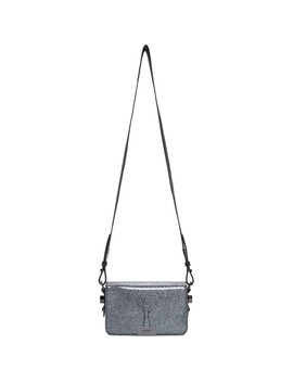 Silver Glitter Mini Flap Bag by Off White