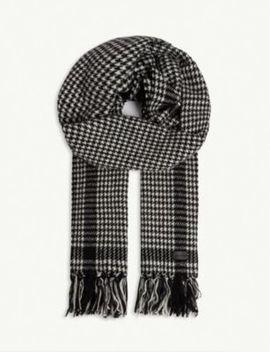 Etole Herringbone Wool Blend Scarf by Saint Laurent