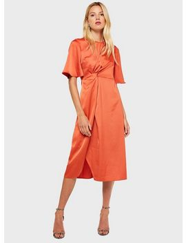 Orange Satin Knot Midi Dress by Miss Selfridge