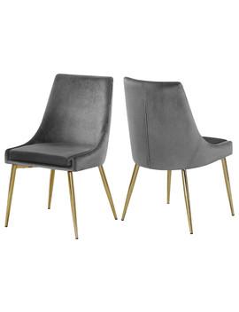 Karina Velvet Dining Chairs, Set Of 2, Gray, Gold Base by Meridian Furniture