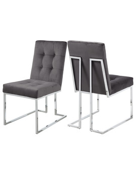 Alexis Velvet Dining Chair, Set Of 2, Gray by Meridian Furniture