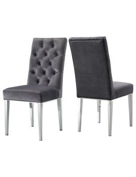 Juno Velvet Dining Chair, Set Of 2, Gray by Meridian Furniture