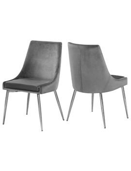 Karina Velvet Dining Chairs, Set Of 2, Gray, Chrome Base by Meridian Furniture