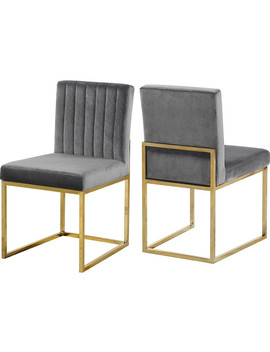 Giselle Velvet Dining Chairs, Set Of 2, Gray, Gold Base by Meridian Furniture
