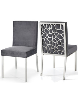 Opal Velvet Dining Chairs, Set Of 2, Gray, Chrome Base by Meridian Furniture