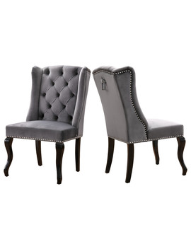Suri Velvet Dining Chairs, Set Of 2, Gray by Meridian Furniture