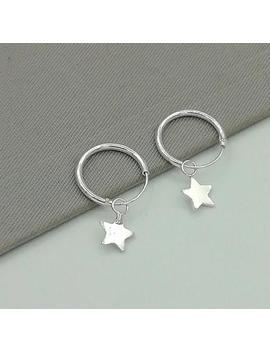 Minimalist Hoops   Silver Star Charm   Celestial Earrings   12mm Hoops   Small Hoop Earrings   Cartilage Hoops   Star Earrings   E340 by Etsy