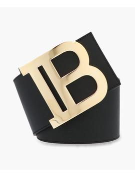 Black Pure Leather Logo Belt by Balmain
