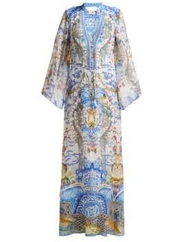 Geisha Gateways Print Silk Maxi Dress by Camilla