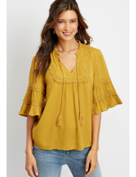 Crochet Trim Peasant Top by Maurices