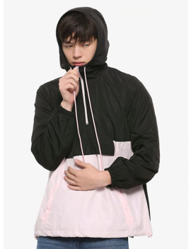 Black &Amp; Pink Color Block Windbreaker by Hot Topic