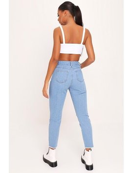 Light Blue Basic Ripped Knee Mom Jeans With Frayed Hem by I Saw It First