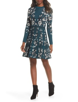Floral Long Sleeve Fit & Flare Sweater Dress by Eliza J