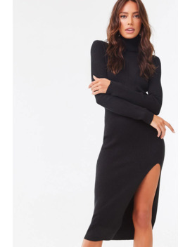Turtleneck Slitted Bodycon Dress by Forever 21