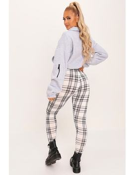 Grey Check High Waisted Leggings by I Saw It First