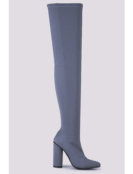 Light Lycra Pointed Thigh High Boots With Block Heel by Hidden Fashion