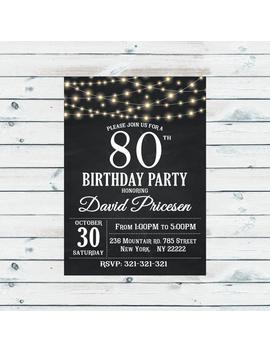 80th Birthday Invitation, Wooden, 80th Birthday, Chalkboard Black White, Retro Chalkboard, Printable Birthday Invitation, Bulbs, Lights 1022 by Etsy