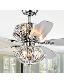 Makore Chrome Dual Lamp 52 Inch Lighted Ceiling Fan W Crystal Shades (Includes Remote And Light Kit) by Warehouse Of Tiffany