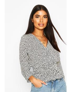 Petite Woven Smudge Print Shirred Wrap Top by Boohoo