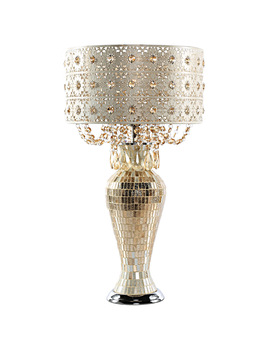 Poetic Wanderlust By Tracy Porter Solvang Jeweled Metal And Mosaic Base Table Lamp With Cascading Crystals by Tracy Porter