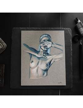"Original Painting \""Nude Torso\"", Mixed Media, Woman Painting, Dark Art, Nude Woman Painting, Home Decor, Alt Art, Original Art, Nude Ooak by Etsy"