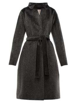 Stand Collar Faux Fur Coat by Herno