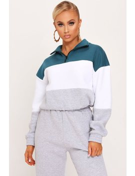 Teal Brush Back Colour Block Half Zip Sweatshirt by I Saw It First