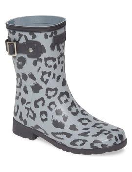 Original Leopard Print Refined Short Waterproof Rain Boot by Hunter