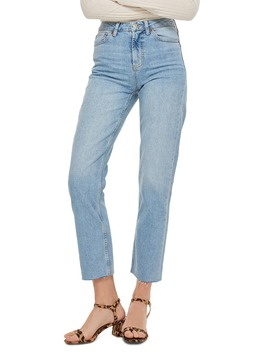 High Waist Raw Hem Straight Leg Ankle Jeans by Topshop
