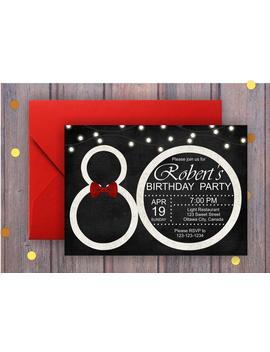80th Birthday Invitation; Black And White Birthday Party Invite; Men Surprise Birthday; Glowing Lights; Printable Digital Digital by Etsy