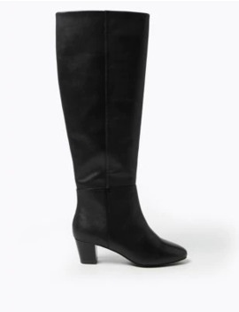 Leather Mid Block Heel Knee High Boots by Marks & Spencer