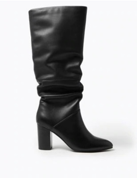 Leather Slouch Block Heel Knee Boots by Marks & Spencer