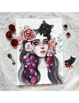 Girl With Black Cat Original Painting By Tatiana Boiko Plum Watercolor Art, Wall Hanging, Wall Art, Original Floral Painting, Russian Art by Etsy