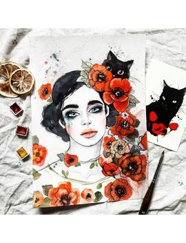 Girl And Black Cat Painting By Tatiana Boiko Watercolor Art, Wall Hanging, Wall Art, Painting, Fox Painting, Russian Art Flower, Nursery by Etsy