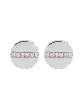 14 K White Gold Diamond Screw Stud Earrings   0.04 Ctw by Ef Collection
